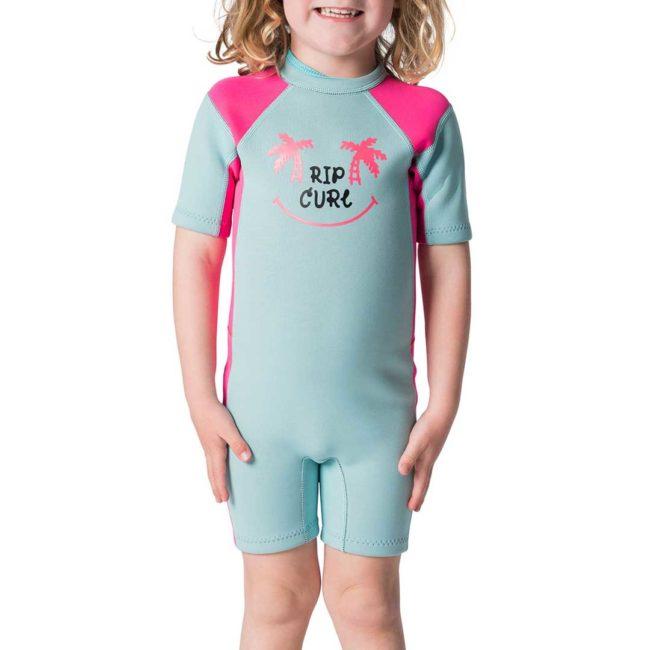 Kids Dawn Patrol Short Sleeve Spring Wetsuit pink
