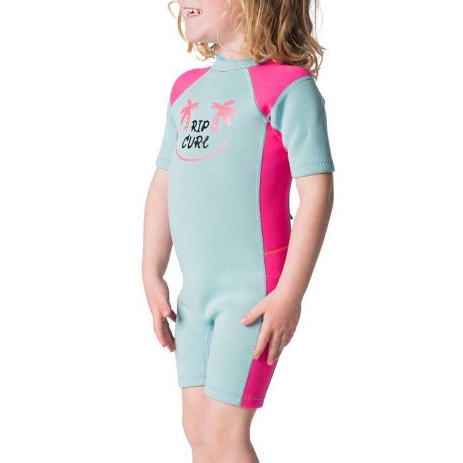 Kids Dawn Patrol Short Sleeve Spring Wetsuit pink side